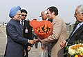 The Prime Minister, Dr. Manmohan Singh being received by the Governor of J&K, Shri N.N. Vohra and the Chief Minister of J&K, Shri Omar Abdullah, on his arrival, at Srinagar Airport on October 28, 2009.jpg
