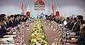 The Prime Minister, Shri Narendra Modi and the Prime Minister of Japan, Mr. Shinzo Abe during delegation level talks, at Mahatma Mandir, in Gandhinagar, Gujarat on September 14, 2017.jpg