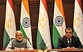 The Prime Minister, Shri Narendra Modi delivering his statement to media at the Joint Press Briefing with the President of Tajikistan, Mr. Emomali Rahmon, at Qasr-e-Millat, in Dushanbe, Tajikistan on July 13, 2015.jpg