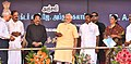 The Prime Minister, Shri Narendra Modi unveiling a plaque to mark dedication to the nation of the 9.5km Link Road on NH87 between Mukundarayar Chathiram and Arichalmunai, at Rameswaram, Tamil Nadu.jpg