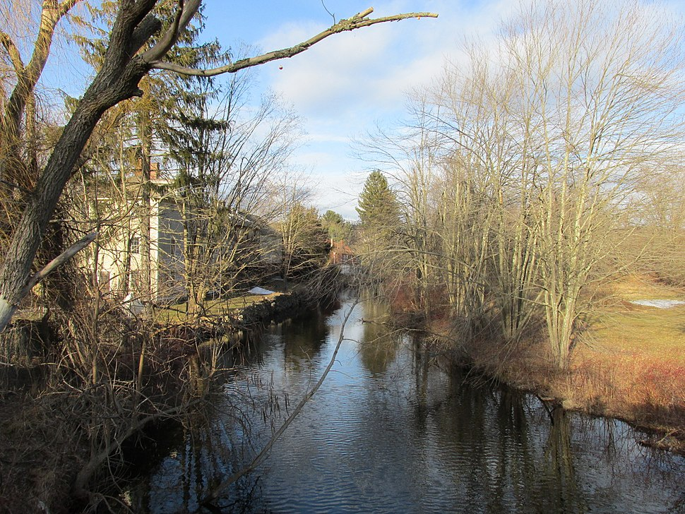 The Scantic River looking upstream in Hampden MA