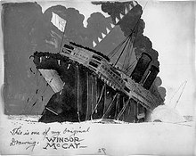 "A black-and-white drawing of a sinking ship, signed ""This is one of my original drawings, Winsor McCay""."