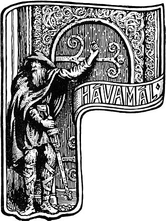 "Hávamál - ""The Stranger at the Door"" (1908) by W. G. Collingwood."