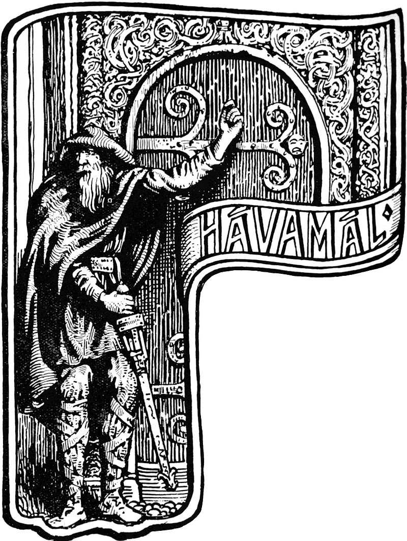 Public domain image from The Elder or Poetic Edda; commonly known as Sæmund's Edda. Edited and translated with introduction and notes by Olive Bray. Illustrated by W.G. Collingwood (1908) Page 60