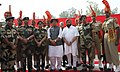 The Union Home Minister, Shri Rajnath Singh with the BSF Officers and personnel, during his visit to the Joint Check-Post (JCP) Hussainiwala border, in Ferozepur district, Punjab.jpg