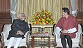 The Vice President, Shri Mohd. Hamid Ansari meeting the King of Bhutan, His Majesty Jigme Khesar Namgyel Wangchuck, in New Delhi on January 07, 2014.jpg
