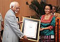 The Vice President of India Shri M. Hamid Ansari presented G.D. Birla International Award – 2008 to Mrs. Zokhumi Vankung for outstanding contribution in the field of Service to Humanity, in New Delhi on June 21, 2010.jpg