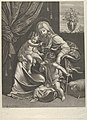 The Virgin seated with the infant Christ on her lap, the young Saint John the Baptist kneeling on Christ's cradle and kissing his foot, a lamb at right, after Reni MET DP841782.jpg