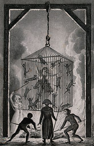 Witch trials in the early modern period - The burning of a French midwife in a cage filled with black cats
