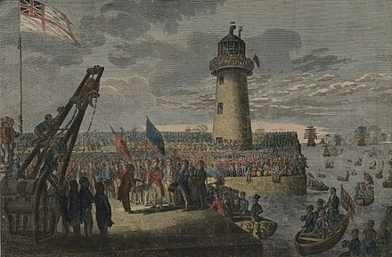 George IV at Holyhead en route to Ireland on 7 August 1821, the day of his wife's death The landing of his Majesty, George the Fourth, at Holyhead, August 7th 1821.jpeg
