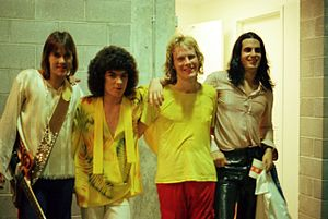 Ambrosia (band) - Ambrosia backstage in the 1970s. L to R: David Pack, Joe Puerta, Burleigh Drummond, Christopher North