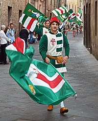 "The procession of the Noble Contrada ""Oca (Goose)"". Siena, Italy.jpg"