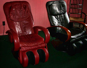 English: Therapeutic chairs at a chiropractic ...