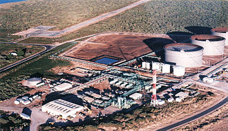Petroleum industry in Western Australia - Petroleum treatment and storage facilities at Thevenard Island, approx 25 km off the coast near Onslow, Western Australia. A treatment plant produces gas for export via a subsea pipeline to customers on the mainland