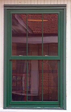 Three-over-three double-hung sash window at Poughkeepsie, NY, train station.jpg