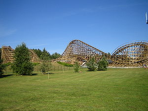 Wooden roller coaster - Thunderbird in the PowerPark amusement park