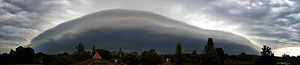 Severe weather - Panorama of a strong shelf cloud, which can precede the onset of high winds