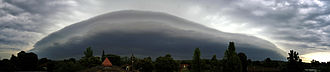 Arcus cloud - Panorama of a strong shelf cloud, a type of arcus cloud