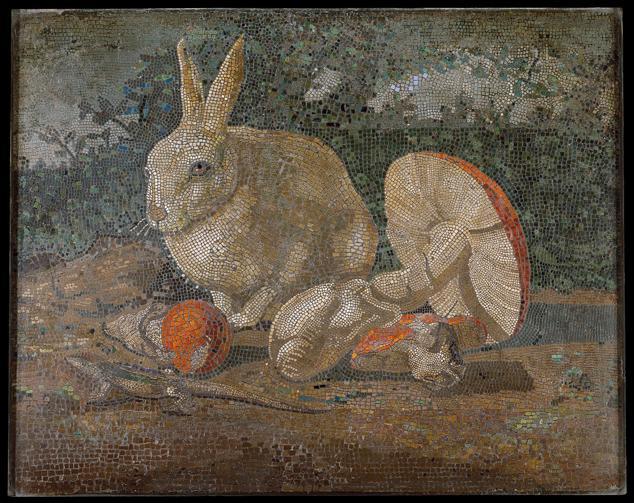 File Tile Mosaic With Rabbit Lizard And Mushroom Met