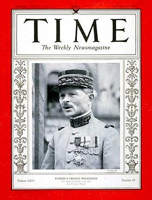 Maxime Weygand - Weygand on Time magazine in 1933.