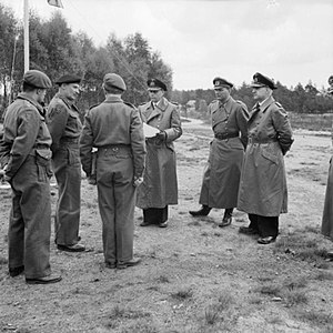 German surrender at Lüneburg Heath - Field Marshal Montgomery (second from the left) greets the German delegation (L to R – Admiral von Friedeburg, General Kinzel and Rear Admiral Wagner).
