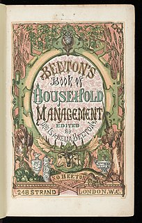 <i>Mrs Beetons Book of Household Management</i> 1861 book by Isabella Beeton