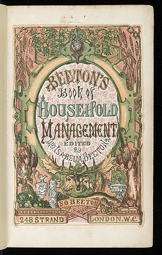 """Mrs Beeton's Book of Household Management - Title page: the first edition did not use the """"Mrs"""" of later editions."""