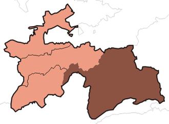 2012 Gorno-Badakhshan clashes - Gorno-Badakhshan (shaded), Tajikistan