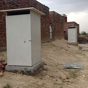 Affordable household toilets near Jaipur, Rajasthan Toilet at a Village near Jaipur installed by Pronto Panels.JPG