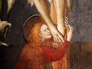 Mary Magdalene - Detail of Mary kissing the feet of the crucified Jesus, Italian, early 14th century