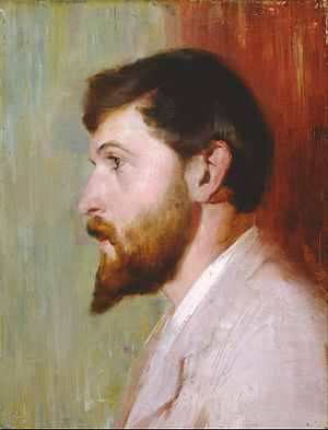 Arthur Streeton - Tom Roberts' portrait of Smike Streeton, age 24 (1891), held at the Art Gallery of New South Wales