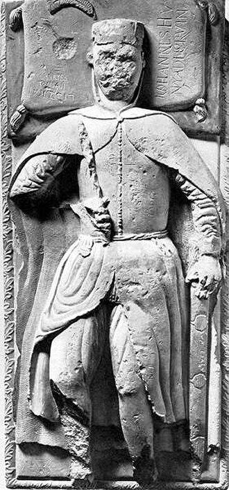 Hunyadi family -  The cover of John Hunyadi's tomb in the Roman Catholic Cathedral of Gyulafehérvár (present-day Alba Iulia, Romania)