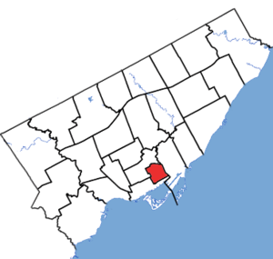 Toronto Centre - Toronto Centre in relation to other Toronto ridings (2015 boundaries)