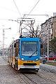 Tram in Sofia near Russian monument 036.jpg