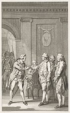 A black and white etching depicting three men surrendering their swords to another, while armed guards watch.