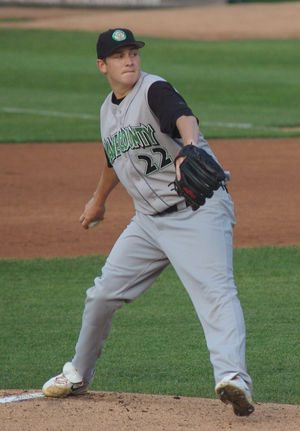 Trevor Cahill - Cahill pitching for the Kane County Cougars of the Midwest League in 2007