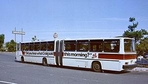 Crown-Ikarus 286 - View of left side and rear of a 60-foot Crown-Ikarus bus