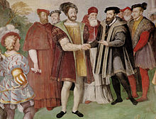 Francis I and Charles V made peace at the Truce of Nice in 1538. Francis actually refused to meet Charles in person, and the treaty was signed in separate rooms. (Source: Wikimedia)