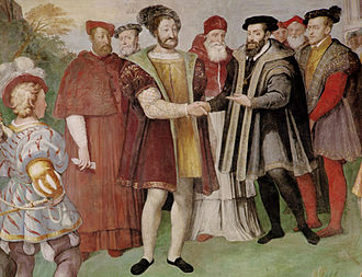 Francis I and Charles V, Holy Roman Emperor made peace at the Truce of Nice in 1538. Francis actually refused to meet Charles in person, and the treaty was signed in separate rooms. Truce of Nice 1538.jpg