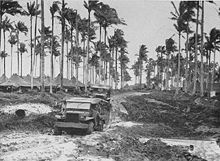 =Black and white photo of two World War II-era trucks driving along a muddy road. Tents and palm trees are visible in the background.