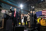 President Donald J. Trump offers a fist pump to employees at the conclusion of his speech at the H&K Equipment Company, Thursday, January 18, 2017, in Coraopolis Pa.