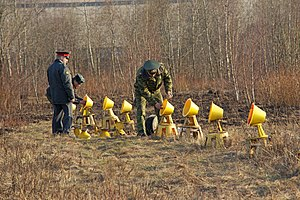 2010 Polish Air Force Tu-154 crash - Russian servicemen, accompanied by a policeman, twist bulbs into the approach lights of Smolensk North Airport's runway, hours after the crash of the Tu-154.