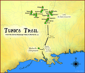 Tunica-Biloxi Map of Tribes Location