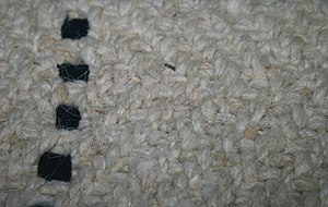 Salish weaving - An example of the twill weave pattern from a blanket in the collection of the Simon Frasier University Museum of Archaeology and Ethnology