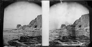 Two men at the seaside (stereograph)