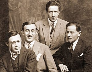 Tristan Tzara - The Chemarea circle in 1915. From left: Tzara, M. H. Maxy, Ion Vinea, and Jacques G. Costin