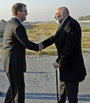 U.S. Defense Secretary Ash Carter exchanges greetings with Afghan Defense Minister Masoom Stanekzai on Forward Operating Base Fenty in Jalalabad, Afghanistan, Dec. 18, 2015 (cropped).JPG