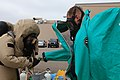 U.S. Marine Corps chemical, biological, radiological and nuclear (CBRN) defense specialists with Marine Wing Headquarters Squadron (MWHS) 3, 3rd Marine Aircraft Wing, perform decontamination procedures during 130430-M-EF955-268.jpg