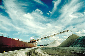Lake freighter - Self-unloading freighter discharging bulk cargo at Duluth, Minnesota.