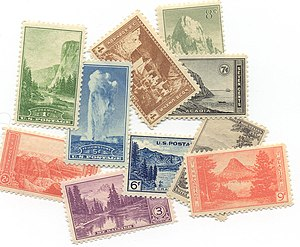 National Park Service - In 1934, a series of ten postage stamps were issued to commemorate the reorganization and expansion of the National Park Service.